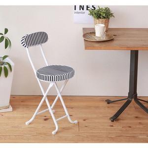 ラグチェア(折りたたみ椅子/カウンターチェア) オフネイビー〔6脚セット〕背もたれ付/椅子/いす/ストライプ/ボーダー/軽量