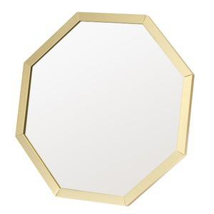 〔12個セット〕アルミフレーム卓上ミラー 八角(ゴールド/金) 鏡/ウォールミラー/壁掛け/2WAY/ 飛散防止加工/角
