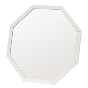 アルミフレーム卓上ミラー/ウォールミラー 〔八角形/12個セット〕 ホワイト(白) 飛散防止加工 角度調整可 〔完成品〕
