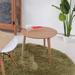 〔4個セット〕 木製ラウンドテーブル(ナチュラル) サイドテーブル/ディスプレイテーブル/北欧風/タモ突板/木目/コンパクト