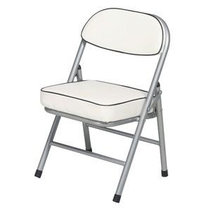 ハニーローチェア(ホワイト/白) 折りたたみ椅子/合成皮革/スチール/イス/背もたれ付き/介護/低い/子供/キッズ/コンパク