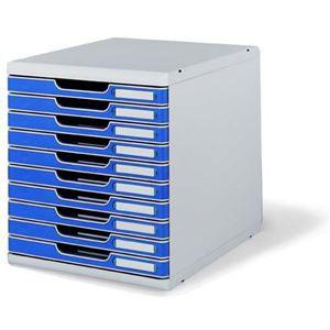エグザコンタ オフィスセット・システム2 10段引き出し 0302-4003 ライトグレー/ブルー 1個