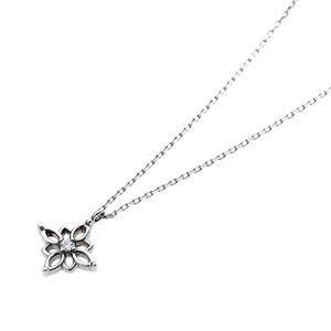 〔鑑別書付〕プラチナPT900 天然ダイヤネックレス ダイヤモンドペンダント/ネックレス0.014ct フラワーモチーフ