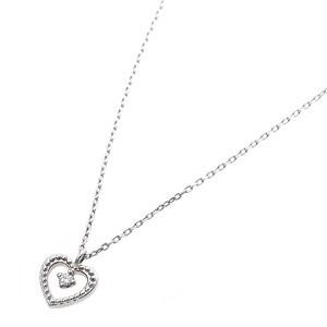 〔鑑別書付〕プラチナPT900 天然ダイヤネックレス ダイヤモンドペンダント/ネックレス0.014ct ハートモチーフ