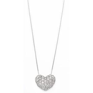 ダイヤモンド ネックレス 0.5ct K18 ホワイトゴールド ハート ダイヤパヴェネックレス 0.5カラット ハートパヴェ