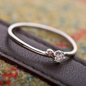 【鑑別書付】プラチナPT950 天然ダイヤリング 指輪 ダイヤ0.05ct ピンクダイヤ0.01ct 9.5号