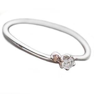 【鑑別書付】プラチナPT950 天然ダイヤリング 指輪 ダイヤ0.05ct ピンクダイヤ0.01ct 10号
