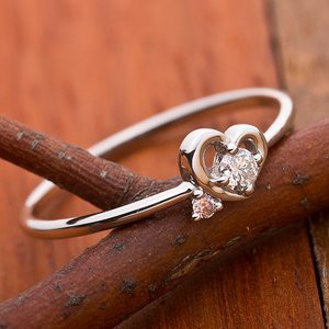 〔鑑別書付〕プラチナPT950 天然ダイヤリング 指輪 ダイヤ0.05ct ピンクダイヤ0.01ct 9.5号 ハートモチー