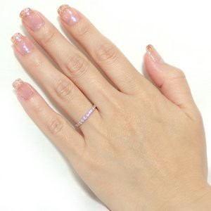 〔鑑別書付〕K18ピンクゴールド 天然ダイヤリング 指輪 ダイヤ0.30ct 13号 ハーフエタニティリング