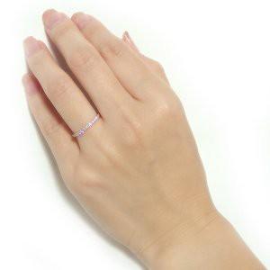 K18ピンクゴールド 天然ダイヤリング 指輪 ダイヤ0.20ct 11号 Good H SI ハーフエタニティリング