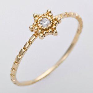 ダイヤモンド リング K10イエローゴールド 11.5号 ダイヤ0.03ct アンティーク調 星 スターモチーフ