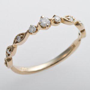 K10イエローゴールド 天然ダイヤリング 指輪 ピンキーリング ダイヤモンドリング 0.09ct 1.5号 アンティーク調 プリンセス