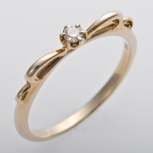 K10イエローゴールド 天然ダイヤリング 指輪 ピンキーリング ダイヤモンドリング 0.03ct 1.5号 アンティーク調 プリンセス リボン