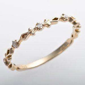 K10イエローゴールド 天然ダイヤリング 指輪 ピンキーリング ダイヤモンドリング 0.03ct 4号 アンティーク調 プリンセス