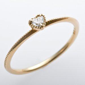 K10イエローゴールド 天然ダイヤリング 指輪 ダイヤ0.05ct 13号 アンティーク調 プリンセス ハートモチーフ