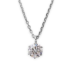 ダイヤモンドペンダント/ネックレス 一粒 プラチナ Pt900 0.4ct ダイヤネックレス 6本爪 Kカラー I1クラス Poor 中央宝石研究所ソーティ