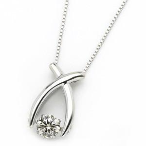 ダイヤモンド ネックレス プラチナ Pt900 0.3ct 揺れる ダイヤ ダンシングストーン ダイヤネックレス リボン ペ