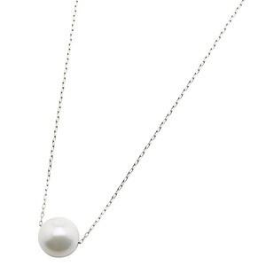 アコヤ真珠 ネックレス パールネックレス K18 ホワイトゴールド 8mm 8ミリ珠 40cm 長さ調節可能(アジャスター付