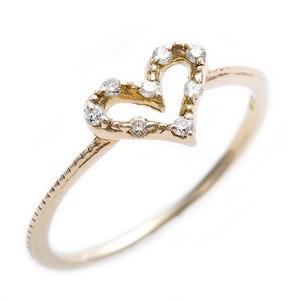 ダイヤモンド ピンキーリング K10 イエローゴールド ダイヤモンドリング 0.05ct 2.5号 アンティーク調 ハートモチー