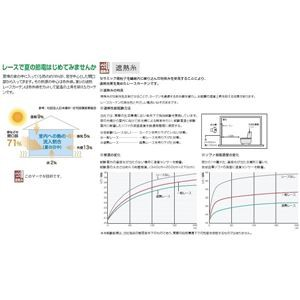 東リ 洗える遮熱糸ミラーレースカーテン KSA-1422 日本製 サイズ 巾190cm×148cm 約2倍ヒダ 三ツ山 両開