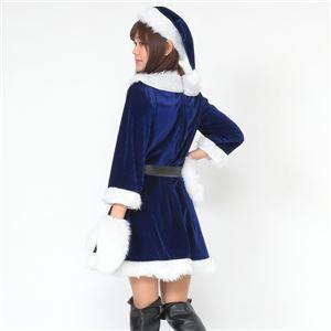 サンタ コスプレ 青 ブルー レディース <帽子&ベルト&手袋セット> 【Peach×Peach  ラブリーサンタクロース ブルー(青) ワンピース