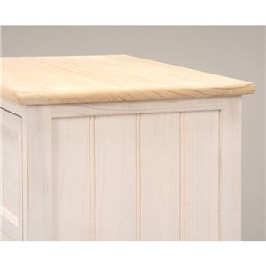 リビングチェスト/サイドチェスト【4段】 木製/桐 幅41cm シャビーシック アンティークホワイト(白) 【代引不可】