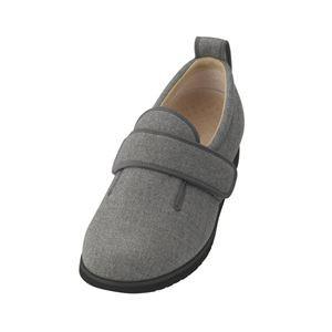 介護靴 施設・院内用 ダブルマジック2ヘリンボン 5E(ワイドサイズ) 7023 片足 徳武産業 あゆみシリーズ /5L (27.0〜27.5cm) グレー 右
