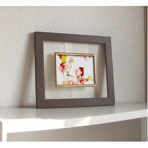 透明フォトフレーム/写真立て 〔ハガキサイズ対応〕 いわさきちひろ 「花と少女」 日本製
