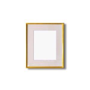 水彩額縁/フレーム 〔F4号/ゴールド〕 壁掛けひも/アクリル/マット付き 化粧箱入り 9736
