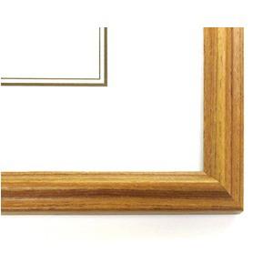 木製デッサン額縁/フレーム 〔四ツ切サイズ 424×348mm〕 チーク 壁掛けひも付き 化粧箱入り 5546