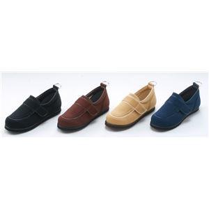 介護靴/リハビリシューズ ブラウン LK-1(外履き) 〔片足25cm〕 3E 左右同形状 手洗い可 (歩行補助用品) 日本