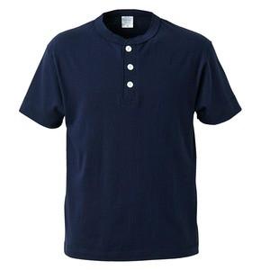 アウトフィットに最適ヘビーウェイト5.6オンスセミコーマヘンリーネック Tシャツ2枚セット ホワイト+ネイビー L