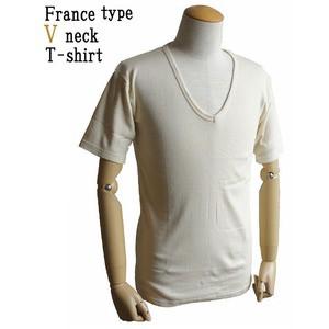 フランス軍 Vネック Tシャツレプリカ 後染めミッドナイト ブルー9( L)
