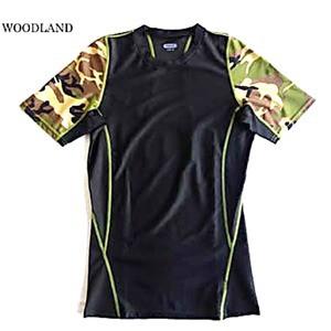 スリムフィットコンプレッションアメリカ軍タクティカルトレーニング吸汗速乾シャツ半袖レプリカ ウッドランド XL