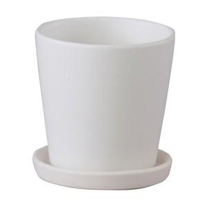 〔4個入〕インテリアポット(植木鉢/プランター) 〔ラウンド型 マットホワイト 直径11cm〕 穴有 皿付 陶器製 『オ