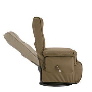 高座椅子/リクライニングチェア 【ブラウン】 張地:合成皮革/合皮 肘付き ハイバック 360度回転 【完成品】【代引不可】