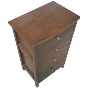 リビングチェスト/収納棚 【4段】 木製 幅46cm コンパクト レトロ調 ロージー 【完成品】