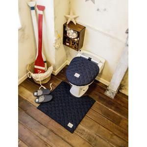 LaidBack トイレマット/トイレ用品 【60×60cm ネイビーブルー】 デニム生地 洗える すべり止め加工