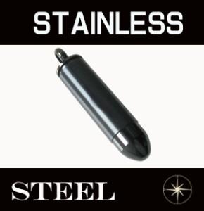 ステンレスペンダント・弾丸型ピルケース(2)黒色/ サージカルステンレス316L 金属アレルギー対応送料無料