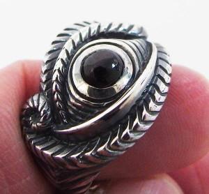 ホルスの目の指輪(2)BS15号フリーサイズ/【メイン】 ホルスの目・エジプト・天然石・パワーストーン・神・ブラックスター送料無料