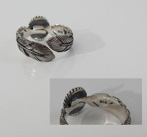 ネイティブリング(8)フェザー15号フリーサイズ/(メイン)・シルバー925銀・指輪・動物・鳥・フェザー・羽根・天然石・ターコイズ・送料無