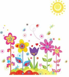 ウォールステッカー【花の国】壁紙 シール 賃貸OK はがせる 剥がせる DIY 模様替え インテリア フラワー サイケデリック 太陽 サン 蜻蛉