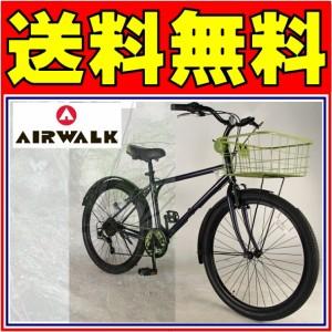 AIRWALK 自転車 ファットバイク ネイビー 紺 街乗り MTB BMX 26インチ 外装6段ギア 送料無料 ファットバイク AIRWALK エアウォーク