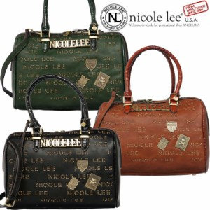 NICOLE LEE ニコールリー P11709 アンティーク海賊宝箱ボストンバッグ ニコルリーバック エナメルクロコ型押し 海外セレブ