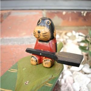 お香立て 葉っぱのイヌくん お香たて アジアン雑貨 バリ雑貨 アニマル 犬 木彫り 木製 インテリア インセンスホルダー イヌ