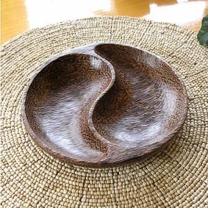 ココナッツの円形トレー 太極 [D.16.5cm] アジアン雑貨 バリ雑貨 インテリア テーブルウェア ココナッツ 木製