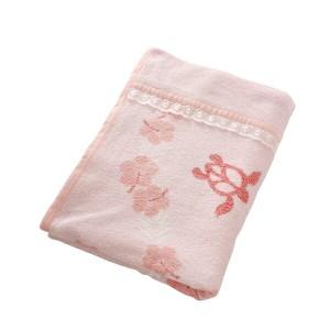 綿100% おぼろタオルケット アロハホヌ柄 シングルサイズ