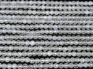 ホワイトカルセドニー 32面カット 丸玉 4mm【天然石ビーズ,14KGF,シルバーパーツ専門店】