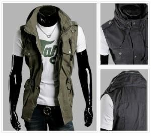 送料無料 ベスト メンズ ミリタリー 軍服 ジャケット コート カジュアル アウター スリム Tシャツに似合う