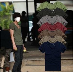 送料無料 Tシャツ メンズ Vネック ドット柄 水玉 総柄 半袖 お兄系 メンズファッション コーディネート 紳士服 hit_d